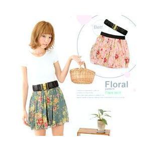 花柄のフレアひらミニスカート(ベルト付き)|tricycle
