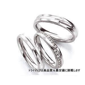 クレエ 左Pt900プラチナリング結婚指輪マリッジダイヤモンド|trideacoltd