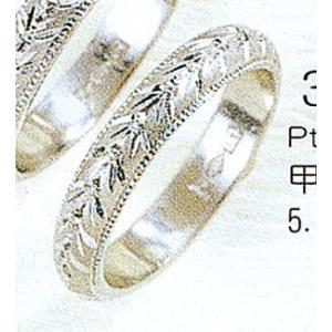 Pt900甲丸月桂樹3.5mmプラチナマリッジリング結婚指輪TRK348|trideacoltd
