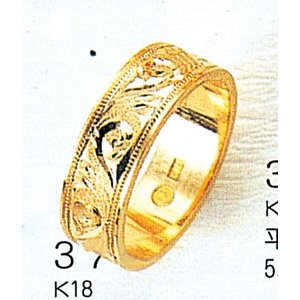K18平打6mm唐草5.6g金マリッジリング結婚指輪TRK379|trideacoltd