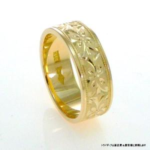 K18平打6mm忘れな草5.6g金マリッジリング結婚指輪TRK380|trideacoltd