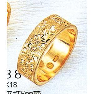 K18平打6mm菊5.6g金マリッジリング結婚指輪TRK381|trideacoltd