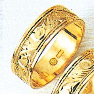 K18平打6mm唐草3.7g金マリッジリング結婚指輪TRK383|trideacoltd