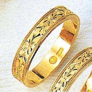 K18平打4mm忘れな草3.7g金マリッジリング結婚指輪TRK384|trideacoltd