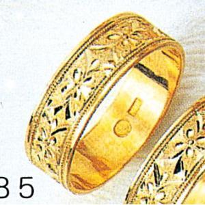 K18平打6mm忘れな草3.7g金マリッジリング結婚指輪TRK385|trideacoltd