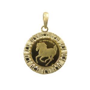 純金 ツバル ホース コイン 1/25oz ペンダント3g K18 エリザベス2世 trideacoltd