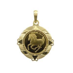 純金 ツバル ホース コイン 1/25oz ペンダント3g K18 エリザベス2世|trideacoltd