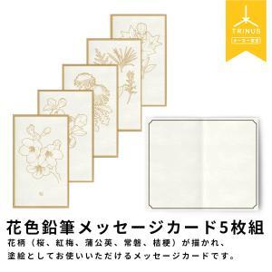 花色鉛筆 メッセージカード(5枚組)封筒付き 塗り絵 ギフト プレゼント|trinusstore