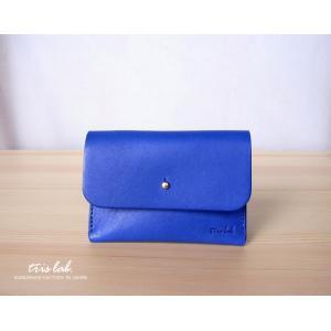 名刺入れ カードケース イタリアレザー (ブルー)|trislab