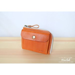 ポッケのついたちいさなお財布 イタリアレザー ライトブラウン |trislab
