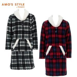 セール50%OFF(アモスタイル)AMO'S STYLE ビッグチェックプリント ルームワンピース AMSTG214 OP(8)