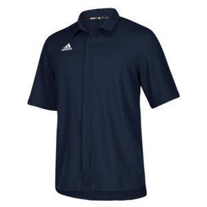 アディダス メンズ ポロシャツ adidas Team Iconic Full Button Polo ゴルフ ロゴ 半袖 Collegiate Navy/White|troishomme