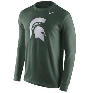 ナイキ メンズ スパルタンズ Tシャツ ロンT Nike Michigan State Spartans Cotton Long Sleeve Logo T-Shirt 長袖 Green|troishomme