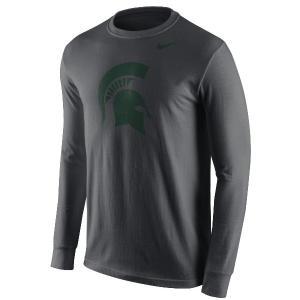 ナイキ メンズ スパルタンズ Tシャツ ロンT Michigan State Spartans Nike Cotton Logo Long Sleeve T-Shirt 長袖 ミシガン Anthracite|troishomme