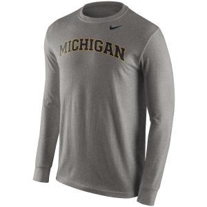 ナイキ メンズ ロンT Michigan Wolverines Nike Wordmark L/S T-Shirt Tシャツ 長袖 Heathered Gray|troishomme