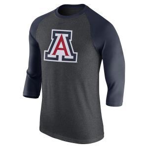 ナイキ メンズ ロンT Arizona Wildcats Nike Logo Tri-Blend 3/4-Sleeve Raglan T-Shirt Tシャツ 七分袖 Charcoal/Navy|troishomme