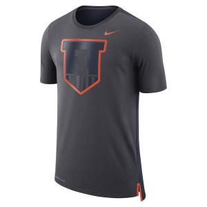 ナイキ メンズ Illinois Fighting Illini Nike Travel Meshback  T-Shirt 半袖 Tシャツ ドライフィット Anthracite|troishomme