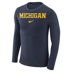 ナイキ メンズ ロンT Michigan Wolverines Nike Marled Wordmark L/S T-Shirt Tシャツ 長袖 ドライフィット Heathered Navy|troishomme