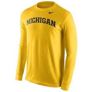 ナイキ メンズ ロンT Michigan Wolverines Nike Wordmark L/S T-Shirt Tシャツ 長袖 Maize|troishomme