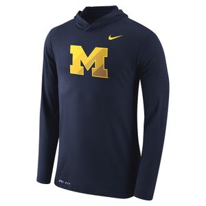 ナイキ メンズ ロンT Michigan Wolverines Nike Tri-Blend Performance Hooded L/S T-Shirt Tシャツ 長袖 ドライフィット Navy|troishomme