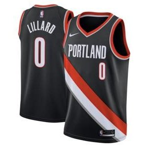 ナイキ メンズ ジャージー Damian Lillard Portland Trail Blazers Nike Swingman Jersey NBA ユニフォーム Black|troishomme