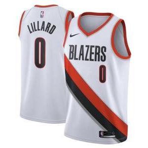 ナイキ メンズ ジャージー Damian Lillard Portland Trail Blazers Nike Swingman Jersey NBA ユニフォーム White|troishomme