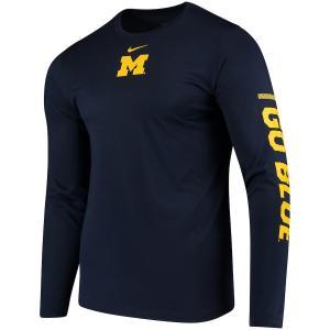 ナイキ メンズ ロンT Michigan Wolverines Nike Week Zero Trainer Hook Performance L/S T-Shirt Tシャツ 長袖 ドライフィット Navy|troishomme