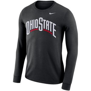 ナイキ メンズ ロンT Ohio State Buckeyes Nike Performance Cotton School Wordmark L/S T-Shirt Tシャツ 長袖 Black|troishomme