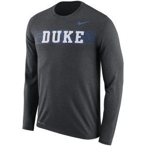 ナイキ メンズ ロンT Duke Blue Devils Nike Nike 2018 Sideline Seismic Performance L/S T-Shirt Tシャツ 長袖 ドライフィット Charcoal troishomme