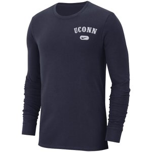 ナイキ メンズ ロンT UConn Huskies Nike Heavyweight Cotton Retro L/S T-Shirt Tシャツ 長袖 Navy|troishomme