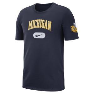 ナイキ メンズ Michigan Wolverines Nike Heavyweight Cotton Retro T-Shirt 半袖 Tシャツ Navy|troishomme