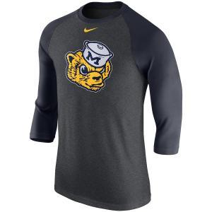 ナイキ メンズ ロンT Michigan Wolverines Nike Retro Tri-Blend 3/4 Sleeve Raglan T-Shirt Tシャツ 七分袖 Heathered Gray|troishomme