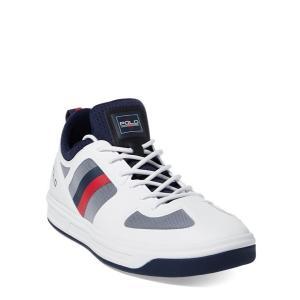 ラルフローレン メンズ シューズ POLO Ralph Lauren Court 200 Mesh Sneaker スニーカー PURE WHITE/FRENCH NAVY|troishomme