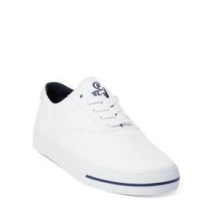 ラルフローレン メンズ シューズ POLO Ralph Lauren CP-93 Canvas Low-Top Sneaker スニーカー WHITE/AVIATOR NAVY キャンバスシューズ|troishomme