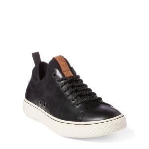 ラルフローレン メンズ シューズ POLO Ralph Lauren Dunovin Leather Sneaker スニーカー BLACK|troishomme