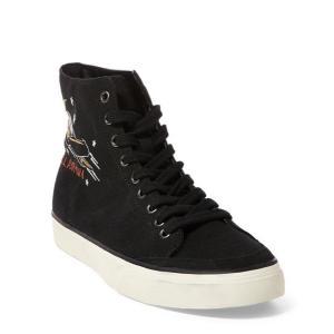 ラルフローレン メンズ シューズ POLO Ralph Lauren Solomon Canvas Sneaker スニーカー BLACK MULTI|troishomme