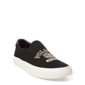 ラルフローレン メンズ シューズ POLO Ralph Lauren Thompson Embroidered Sneaker スニーカー BLACK スリッポン|troishomme
