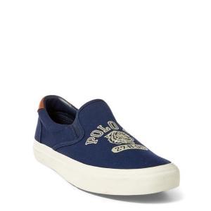 ラルフローレン メンズ シューズ POLO Ralph Lauren Thompson Embroidered Sneaker スニーカー NEWPORT NAVY スリッポン|troishomme