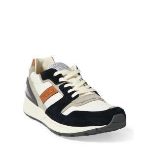 ラルフローレン メンズ シューズ POLO Ralph Lauren Train 100 Suede-Mesh Sneaker スニーカー NEWPORT NAVY|troishomme