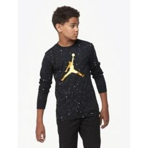 ジョーダン ボーイズ/キッズ Tシャツ Jordan Speckle Long Sleeve T-Shirt 半袖 ミニバス Black/White Speckle/Gold|troishomme