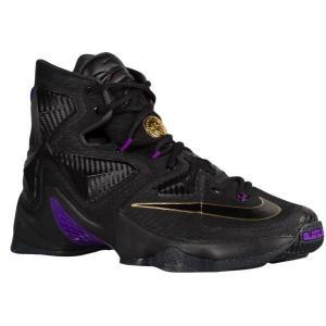 ナイキ メンズ Nike LeBron XIII 13 バッシュ Black/Metallic Gold/Hyper Grape  LeBron James レブロン・ジェームズ|troishomme