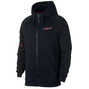 ジョーダン メンズ Jordan Jumpman Air Fleece Full-Zip Top Hoodie パーカー Black/Gym Red ジップアップ フーディー|troishomme