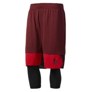 アディダス メンズ adidas Dame 2-in1 Shorts バスパン ショーツ ハーフパンツ Damian Lillard | Scarlet/Black|troishomme