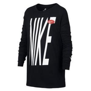 即納 ナイキ ボーイズ/キッズ ロンT Nike Bold Graphic Long-Sleeve T-Shirt Tシャツ 長袖 Black/White|troishomme