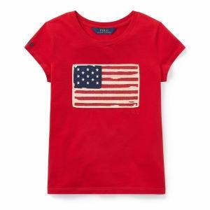 ポロ ラルフローレン 7-16 ガールズ/キッズ 女の子 Polo Ralph Lauren Flag Cotton Jersey T-Shirt Tシャツ 半袖 Red|troishomme