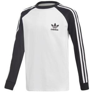 即納 アディダス オリジナルス キッズ adidas Originals California L/S T-Shirt Tシャツ 長袖 ロンT White/Black|troishomme