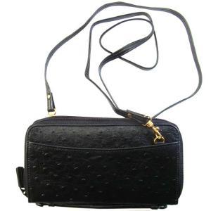 ポシェット風にお使いいただける上質牛革レザーの長財布。ショルダーストラップは取外し自由。中背の方が斜...