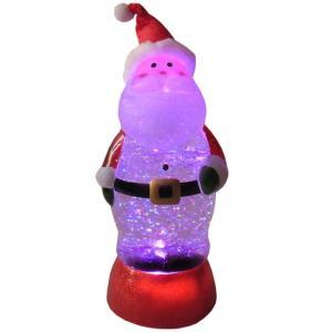 赤いベロアの帽子を被ったサンタクロースのクリスマスオーナメント。スイッチをオンするとグリッター(ラメ...