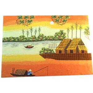 夕日の川で釣りを楽しむ人々を描いたロマンティックなサンセットタイムの刺繍絵です。ベトナムの職人さんが...