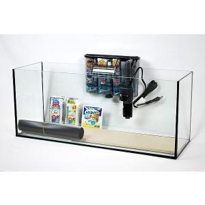 幅60cmスリムタイプ・ブラックシリコン仕様フレームレスガラス水槽と専用ブラック仕様外掛け式フィルタ...